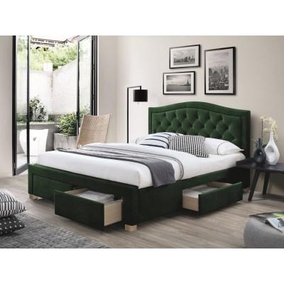 Кровать SIGNAL ELECTRA VELVET зеленый, 160/200 NEW 2